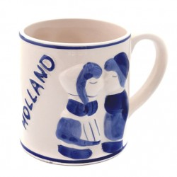 MUG DELFT BLUE HOLLAND KISSING COUPLE 3D