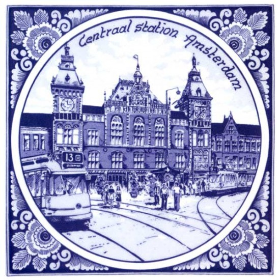 DELFT BLUE TILE AMSTERDAM CENTRAL STATION FLOWER EDGE