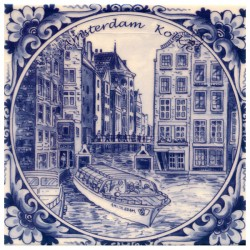 TILE DELFT BLUE AMSTERDAM KOLKJE 15 x 15 CM