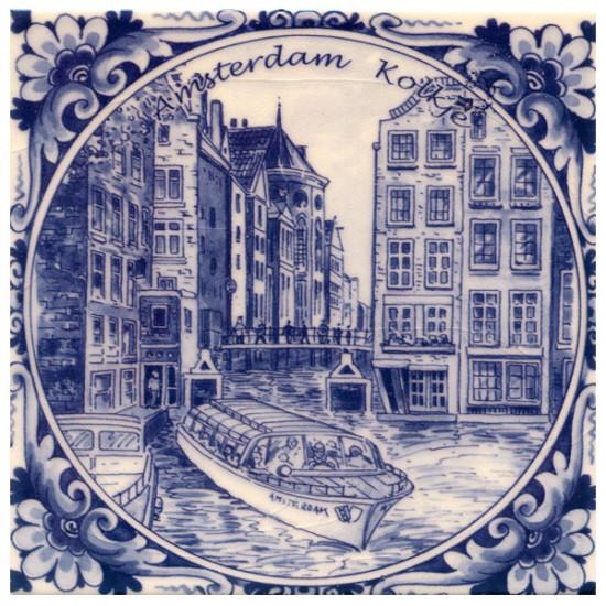 Tegel delfts blauw amsterdam kolkje 15 x 15 cm