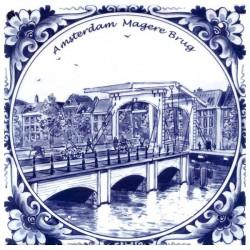 DELFT BLUE TILE AMSTERDAM MAGERE BRUG FLOWER EDGE