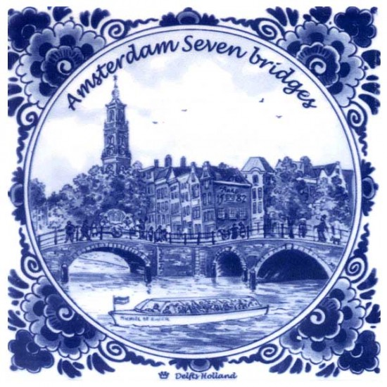 DELFT BLUE TILE AMSTERDAM SEVEN BRIDGES