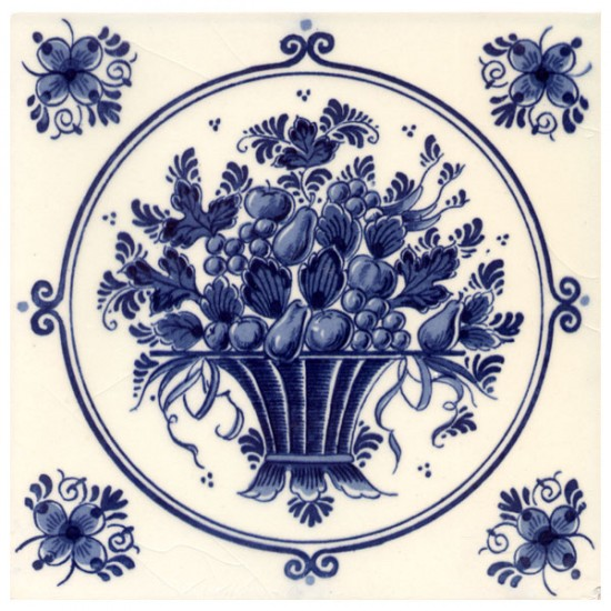 Tile delft blue fruit basket light15  x 15 cm