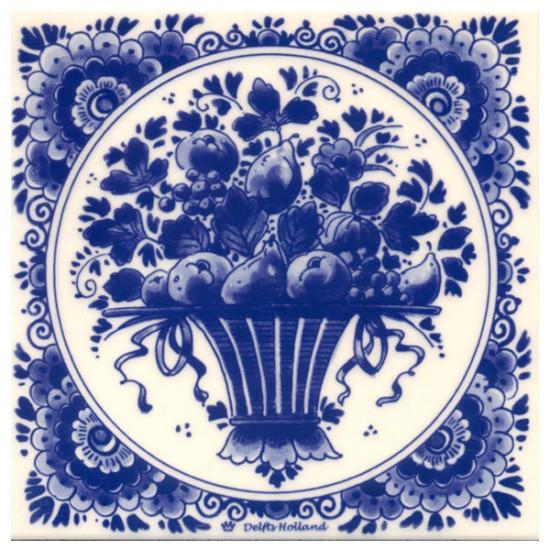 TILE DELFT BLUE FLOWERS FRUIT DISH 15 x 15 CM