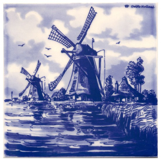 DELFT BLUE TILE HOLLAND WINDMILLS WATER LANDSCAPE