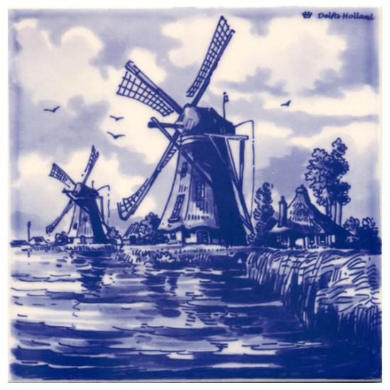 Delfts blauw tegel hollandse windmolens waterlandschap
