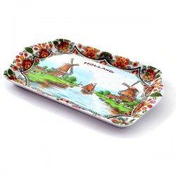 SERVE TRAY HOLLAND DELFT COLOR WINDMILL LANDSCAPE FLORAL