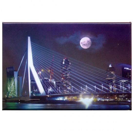 Photo magnet rotterdam erasmus bridge by night