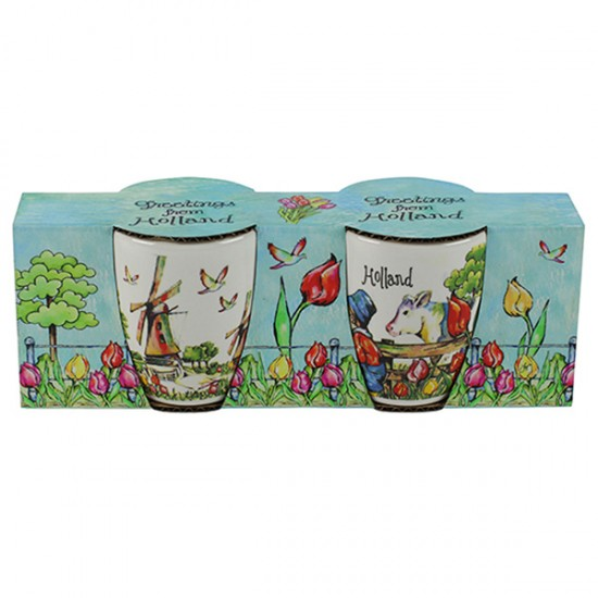 GIFT SET ESPRESSO CUPS HOLLAND PRINT