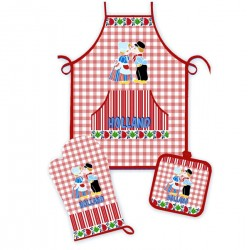 KITCHEN SET HOLLAND KISSING COUPLE RED