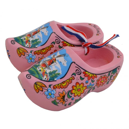 WOODEN CLOGGIES PINK MILL / FLOWERS 10 cm