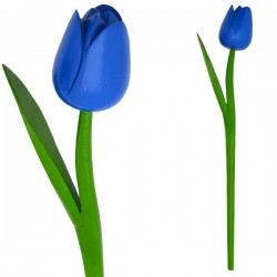 WOODEN TULIP WITH HALM 36 CM BLUE