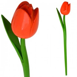 WOODEN TULIP WITH HALM 35 CM ORANGE