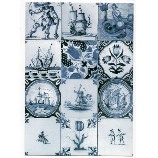 Ansichtkaart delfts blauw oud hollands tegel