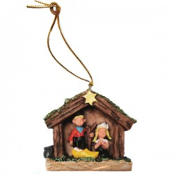 CHRISTMAS TREE PENDANT NATIVITY SCENE WOODEN SHOE