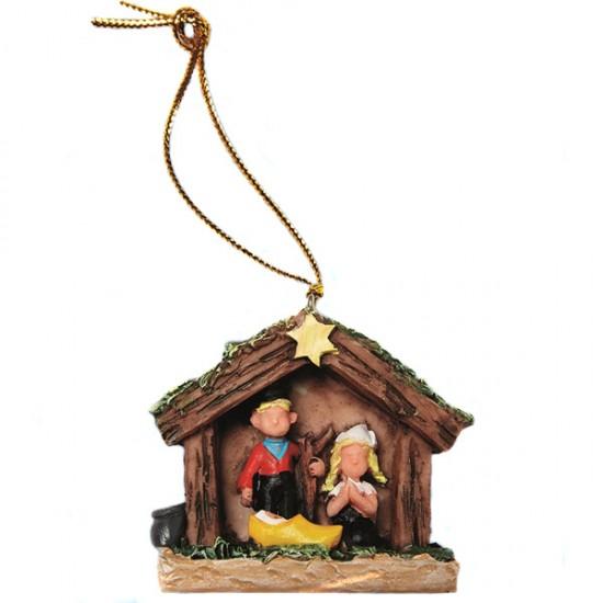 Kerstboomhanger kerststal klomp