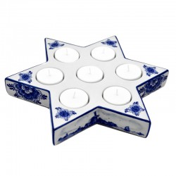 CHRISTMAS STAR DELFT BLUE TEA CANDLE HOLDER BIG