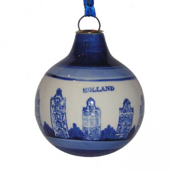 CHRISTMAS BALL DELFT WIDMILL LANDSCAPE GIFT BOX