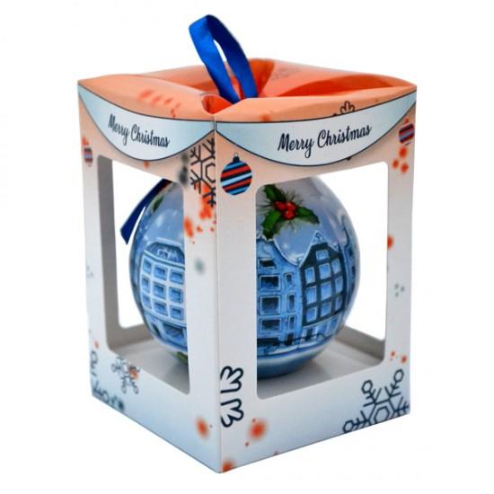 Kerstbal kunststof delfts grachtenhuisjes cadeau