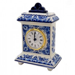 CLOCK STANDING SQUARE DELFT BLUE FLOWER DECORATION