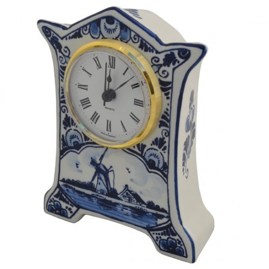 CLOCK STANDING DELFT BLUE WINDMILL FLOWER DECORATION