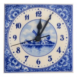 TILE CLOCK NUMBERS DELFT BLUE WINDMILL FLOWERS