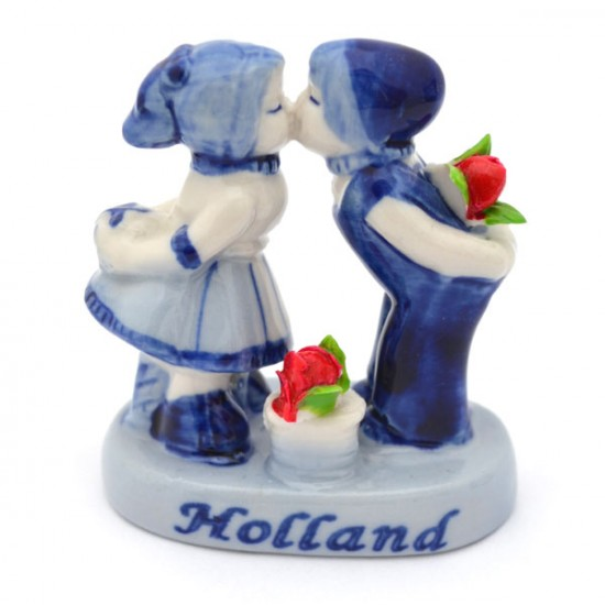 KISSING COUPLE DELFT BLUE RED TULIPS 6.5 CM