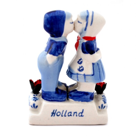 KISSING COUPLE TULIPS COLOR 8 CM DELFT BLUE