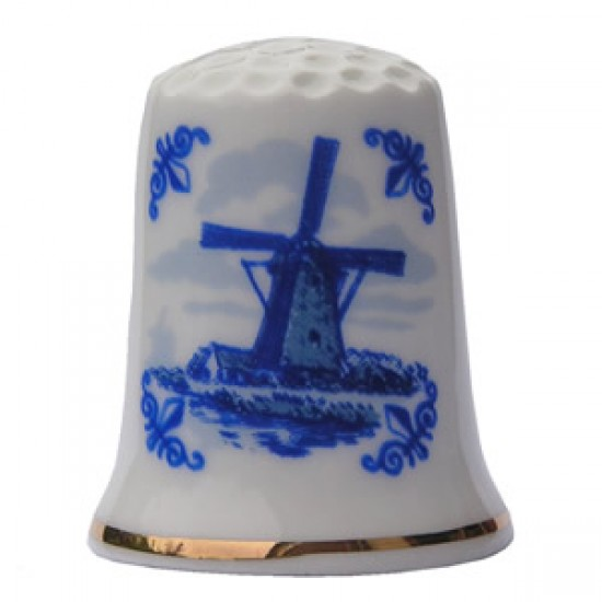 THIMBLE TILE WINDMILL DELFT BLUE
