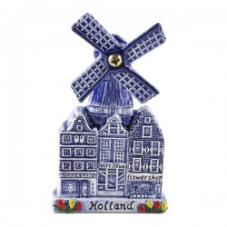 FRIDGE MAGNET WINDMILL ROTATING BLADES DELF BLUE