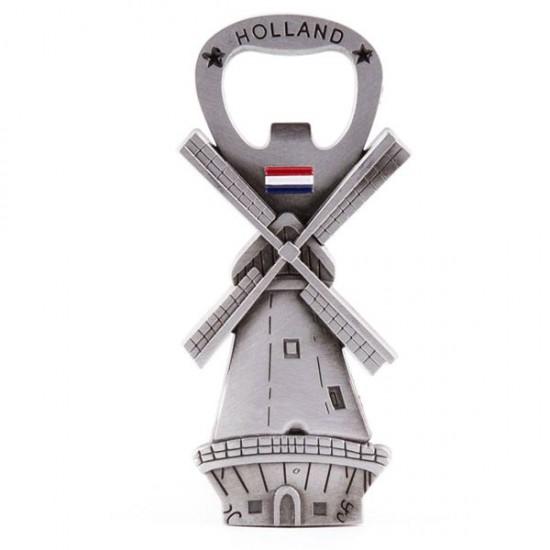 Magneet flesopener holland molen vlag tin