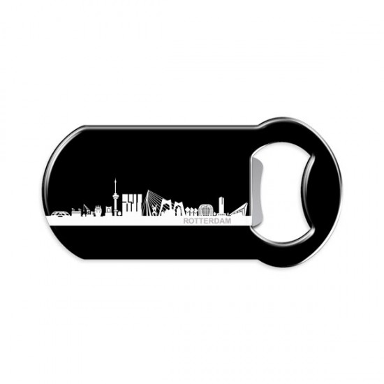 MAGNET BOTTLE OPENER ROTTERDAM SKYLINE BLACK