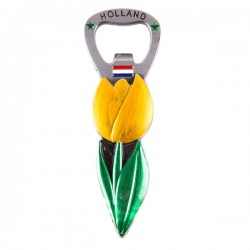 MAGNET BOTTLE OPENER TULIP YELLOW METAL
