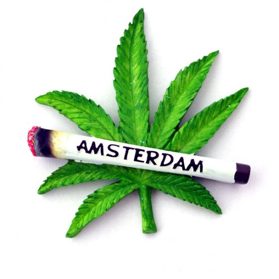 Fridge magnet cannabis leaf joint amsterdam