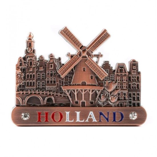MAGNET CANAL HOUSES WINDMILL TULIPS HOLLAND COPPER