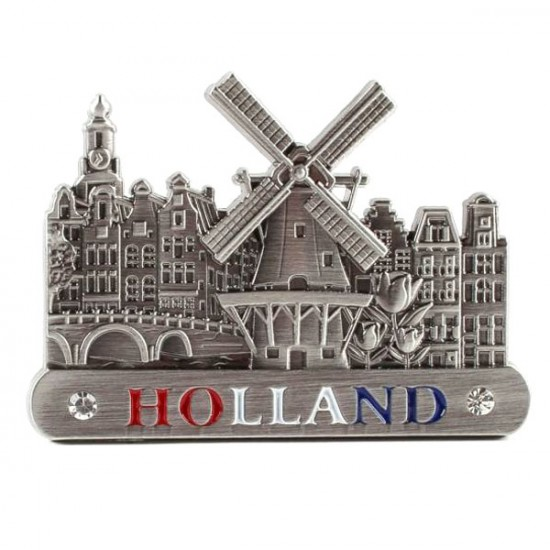 MAGNET CANAL HOUSES WINDMILL TULIPS HOLLAND TIN