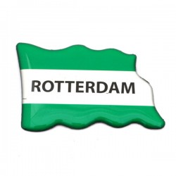 FRIDGE MAGNET ROTTERDAM FLAG GREEN WHITE EPOXY