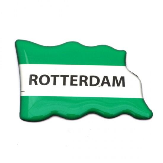 FRIDGE MAGNET ROTTERDAM FLAG GREEN WHITE EPOXY