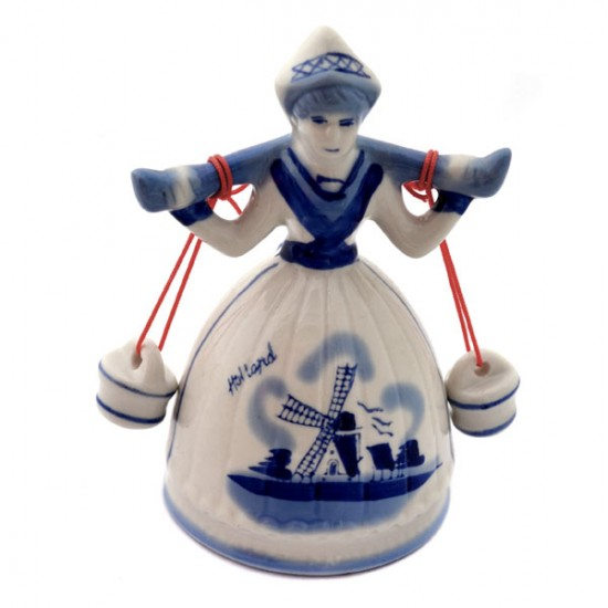 Figurine delft blue farmerwife milkmaid table bell