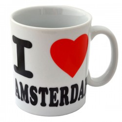 MUG LOVE AMSTERDAM HEART WHITE RED BLACK