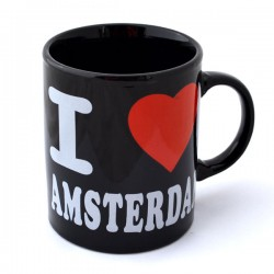 MUG LOVE AMSTERDAM HEART BLACK RED WHITE