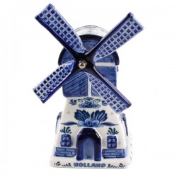 WINDMILL DELFT BLUE MUSIC FLOWERS