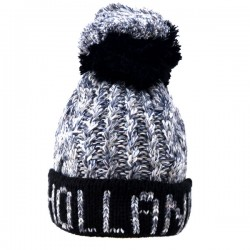 KNITTED HAT SHORT HOLLAND POMPOM GRAY