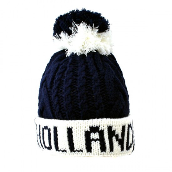 KNITTED HAT SHORT HOLLAND POMPOM NAVY WHITE
