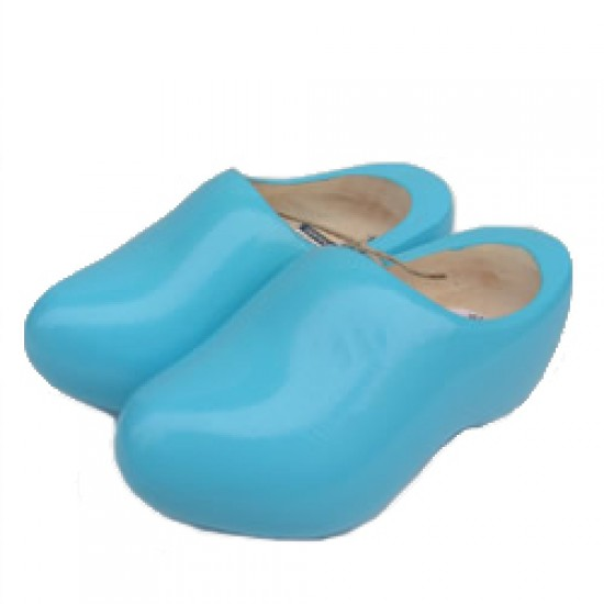 WOODEN SHOES ROUNDED NOSE SOFT BLUE 12 CM