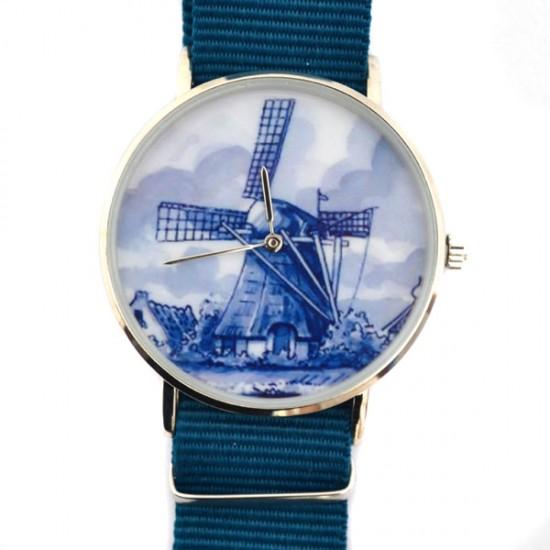 Horloge delfts blauw molen