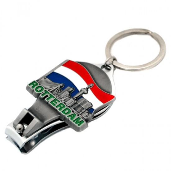 Keychain nail clipper bottle opener rotterdam skyline flag