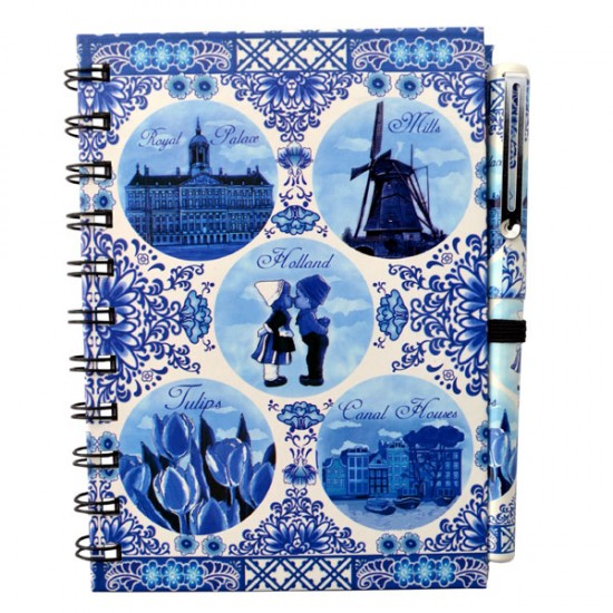 SET NOTEBOOK WITH PEN DELFT BLUE