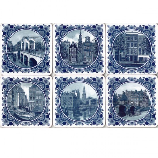 COASTERS KORK DELFT BLUE AMSTERDAM PICTURES