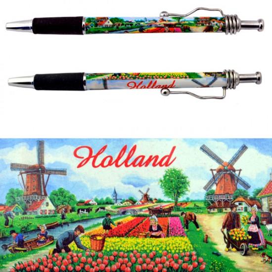 Ballpoint holland tulip field